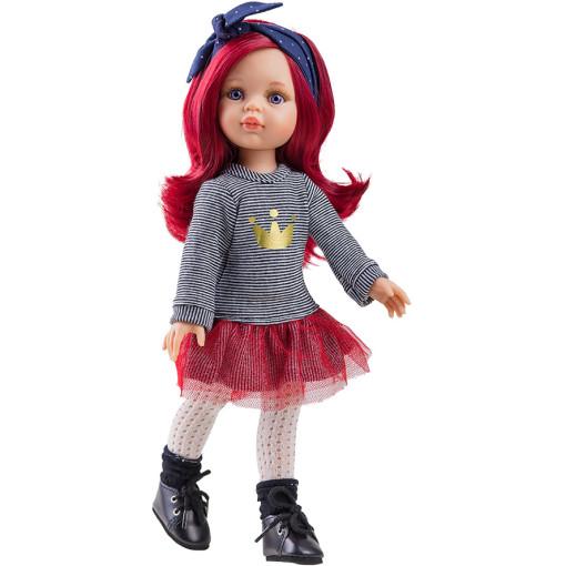 Одежда платье с красной юбочкой для куклы Даша, 32 см