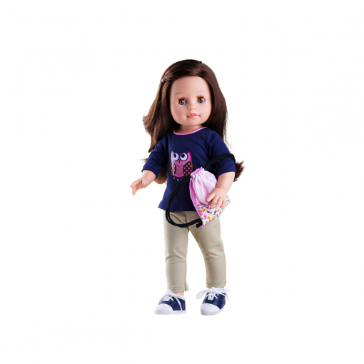 Кофточка с совой, брюки и розовая сумочка-мешок для кукол 42 см