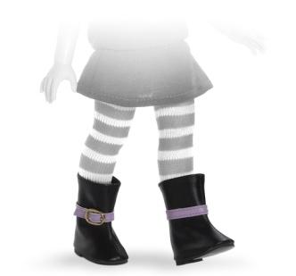 Сапоги черные с фиолетовой пряжкой, для кукол 32 см