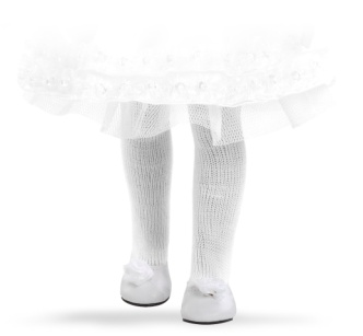 Туфли белые с цветком, для кукол 32 см