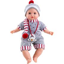 Кукла Алекс в сером комбинезоне и полосатом шарфике, 36 см, озвученная