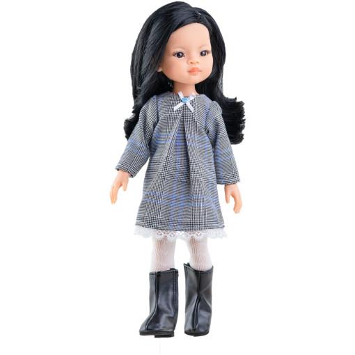 Клетчатое платье с кружевами и ажурные колготки для кукол 32 см