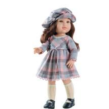 Клетчатое платье с кепи и чулками для куклы 42 см