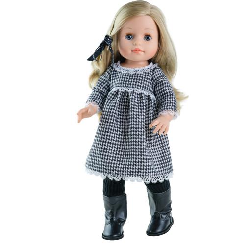 Клетчатое платье с кружевами и колготки для кукол 42 см