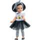 Кукла Миа в черно-белом платье с клетчатой повязкой, 21 см