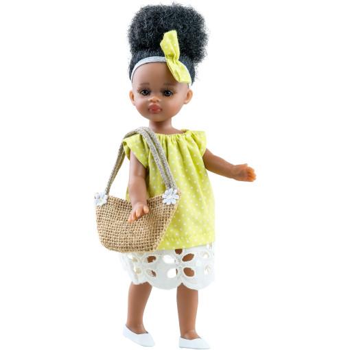 Кукла Ноа в желтом платье в горошек с соломенной сумочкой, 21 см