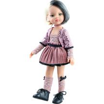 Кукла Лиу в бархатном наряде с чокером, 32 см