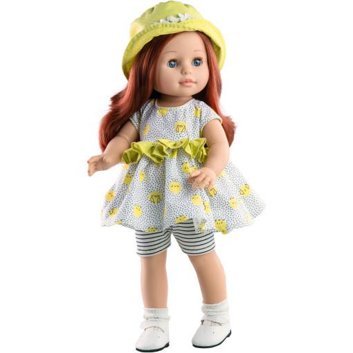 Кукла Soy Tu Бекка в платье с рюшами и желтой панаме, 42 см