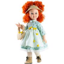 Кукла Сандра в голубом платье с соломенной сумочкой, шарнирная, 60 см