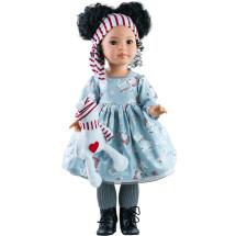 Кукла Мэй в голубом платье с медвежонком, шарнирная, 60 см