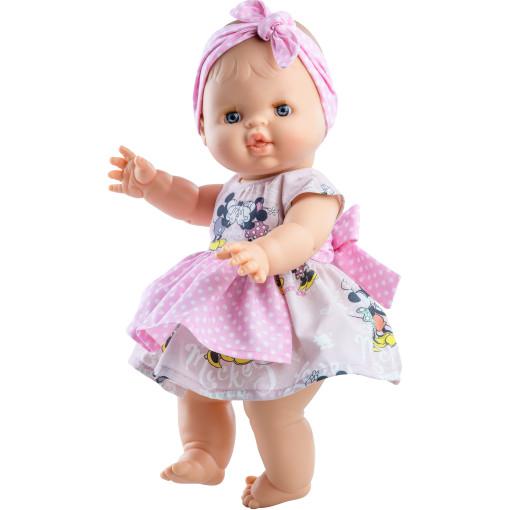 Пупс Горди Элви в розовом платье с повязкой в горошек, 34 см