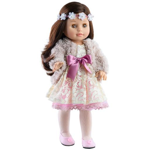 Розовое платье с пушистой накидкой и цветочным венком для кукол 42 см