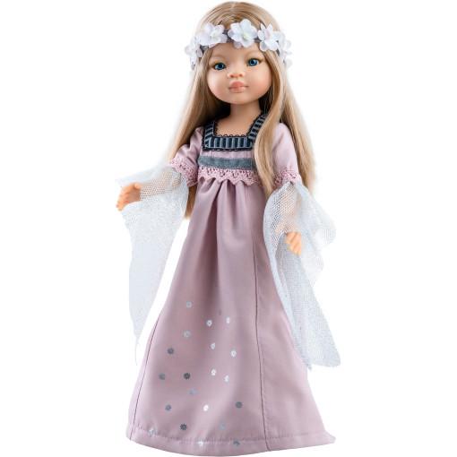 Длинное розовое платье и цветочный венок для кукол 32 см