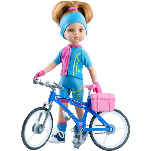 Велосипедный костюм с розовыми вставками для кукол 32 см