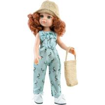 Голубой комбинезон с соломенной шляпкой и сумочкой для кукол 32 см