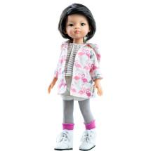 Серый наряд и ветровка с фламинго для кукол 32 см