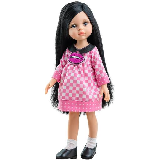 Кукла Карина в розовом клетчатом платье с вышивкой, 32 см