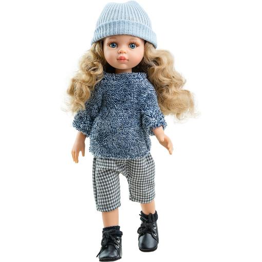Кукла Карла в синей пушистой кофточке и голубой шапке, 32 см