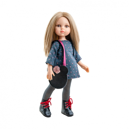 Кукла Карла в платье в горошек с сумкой-мышкой, 32 см