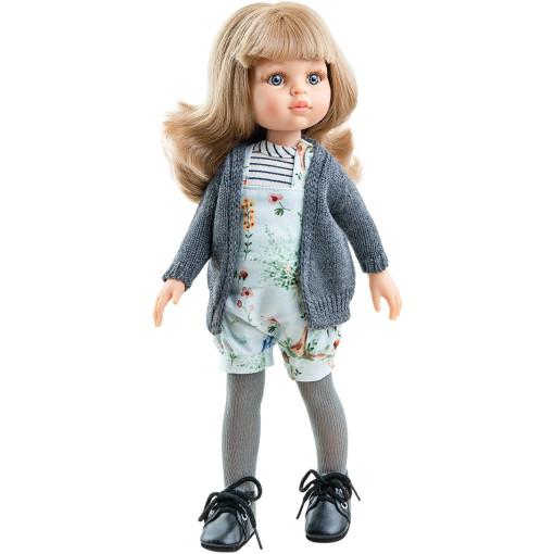Кукла Карла в цветочном комбинезоне и сером кардигане, 32 см