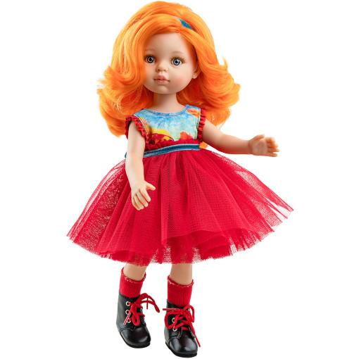 Кукла Сусана в платье с красной пышной юбкой, 32 см