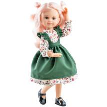 Кукла Клео в платье с зеленым передником, 32 см, шарнирная