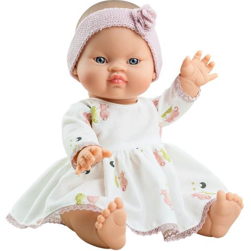 Пупс Горди Джоанна в белом платье с розовой повязкой, 34 см