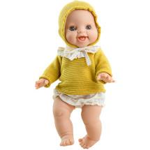 Пупс Горди Аник в желтой кофточке с капюшоном, 34 см