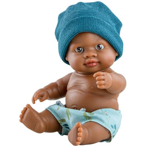 Кукла-пупс Олмо в синей шапочке, 22 см, мулат