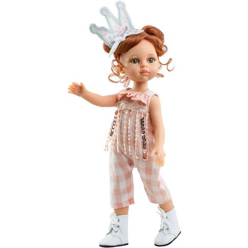 Розовый комбенизон и повязка-корона для кукол 32 см