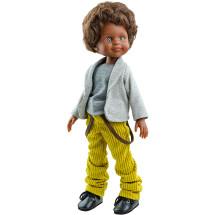 Серые футболка с кофтой и желтые брюки для кукол 32 см