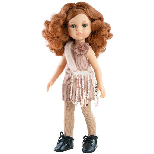 Розовое платье, сумочка и колготки для кукол 32 см
