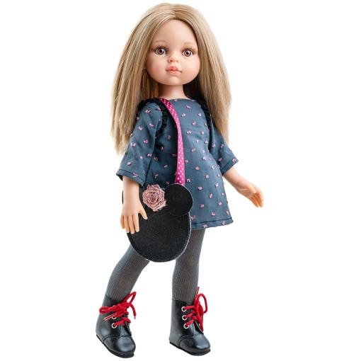 Синее платье, сумочка-мышка и колготки для кукол 32 см