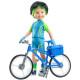 Велосипедный костюм с зелеными вставками для кукол 32 см