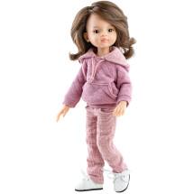 Розовое худи и штаны для шарнирных кукол 32 см