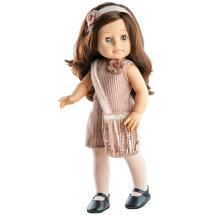 Розовое платье, сумочка, ободок и колготки для кукол 42 см
