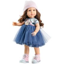 Синее платье и шапочка для кукол 42 см