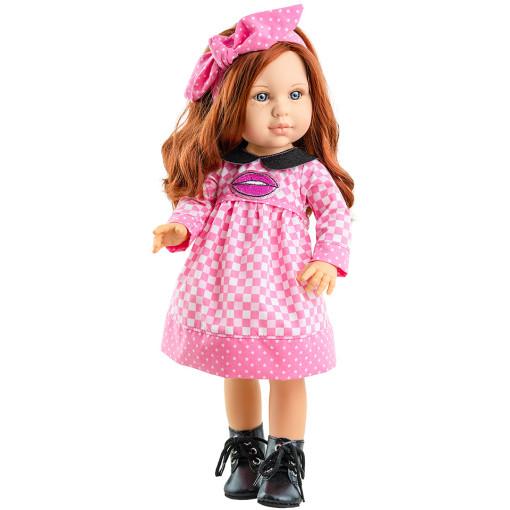 Клетчатое платье и бант для кукол 42 см