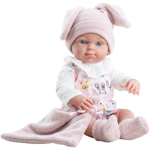 Розовый костюмчик и шапочка с ушками для куклы Бэби, 32 см