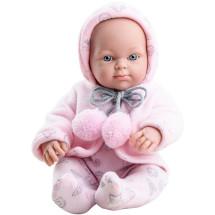 Розовый костюмчик с помпонами для куклы Бэби, 32 см