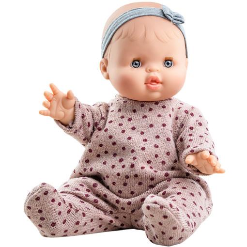 Розовый комбинезон в горошек и повязка для куклы Горди, 34 см
