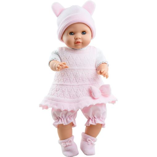 Розовый костюмчик и шапочка с ушками для пупсов 36 см