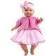 Розовое платье и бантик в горошек для пупсов 36 см