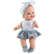 Бело-серое платье, бант и носочки для кукол Горди, 34 см