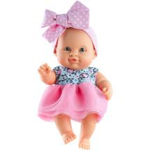 Платье и розовая повязка-бант для пупсов 22 см