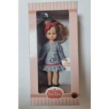 Кукла Паола в платье с рыбками с красной повязкой в горошек, 21 см